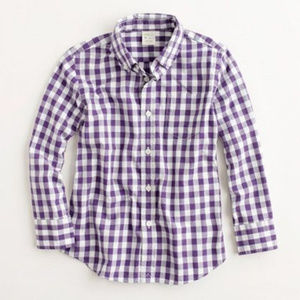 J.crew purple white gingham button down top